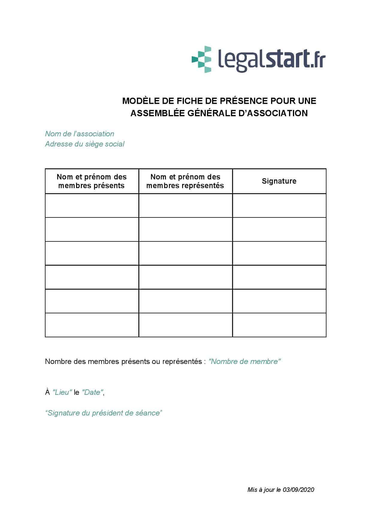 modèle de fiche de présence association
