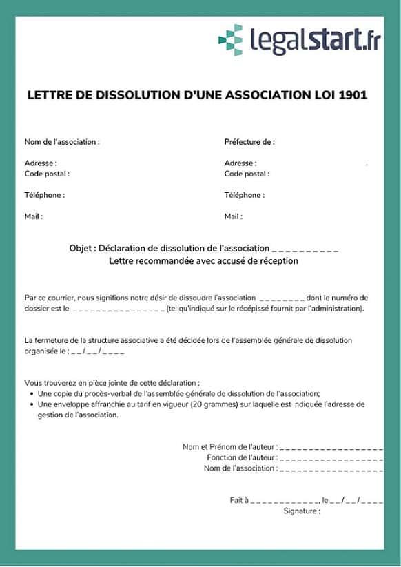 modele lettre dissolution association loi 1901
