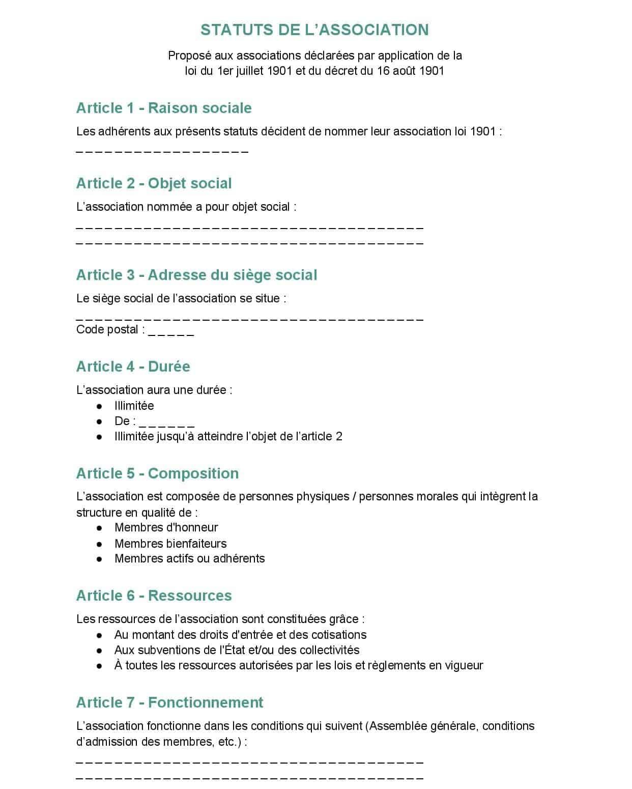 modele statuts association