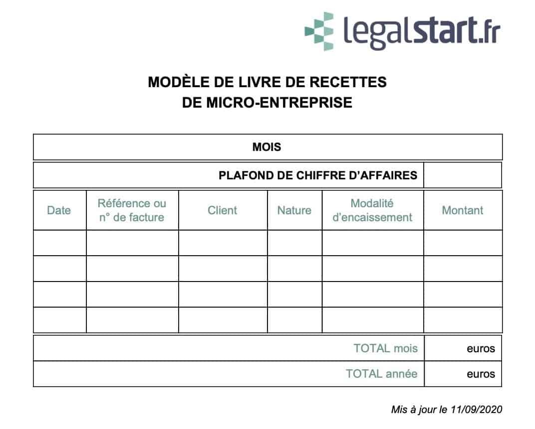 modèle de livre de recette micro-entreprise