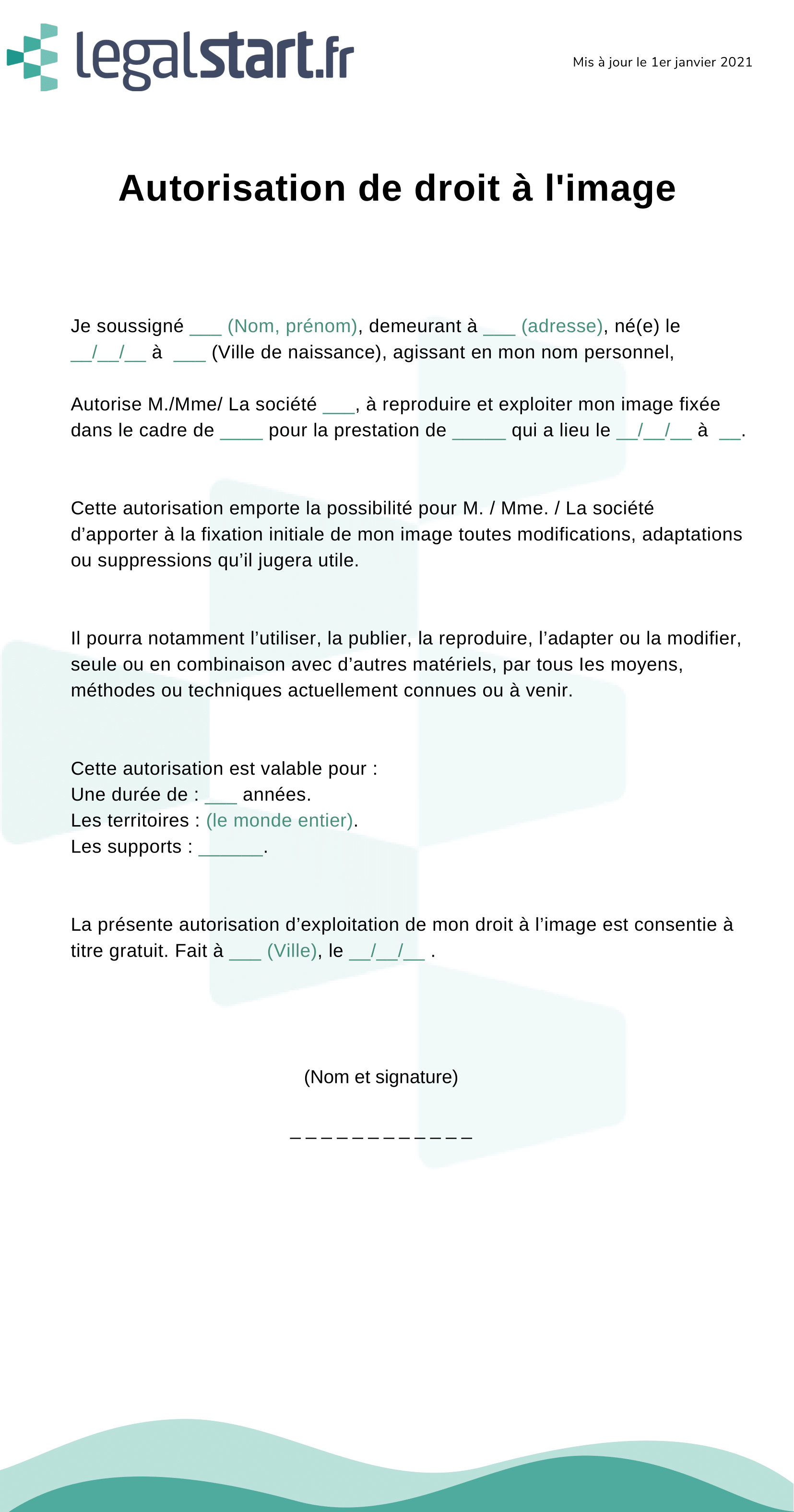 Modèle d'autorisation d'exploitation de l'image