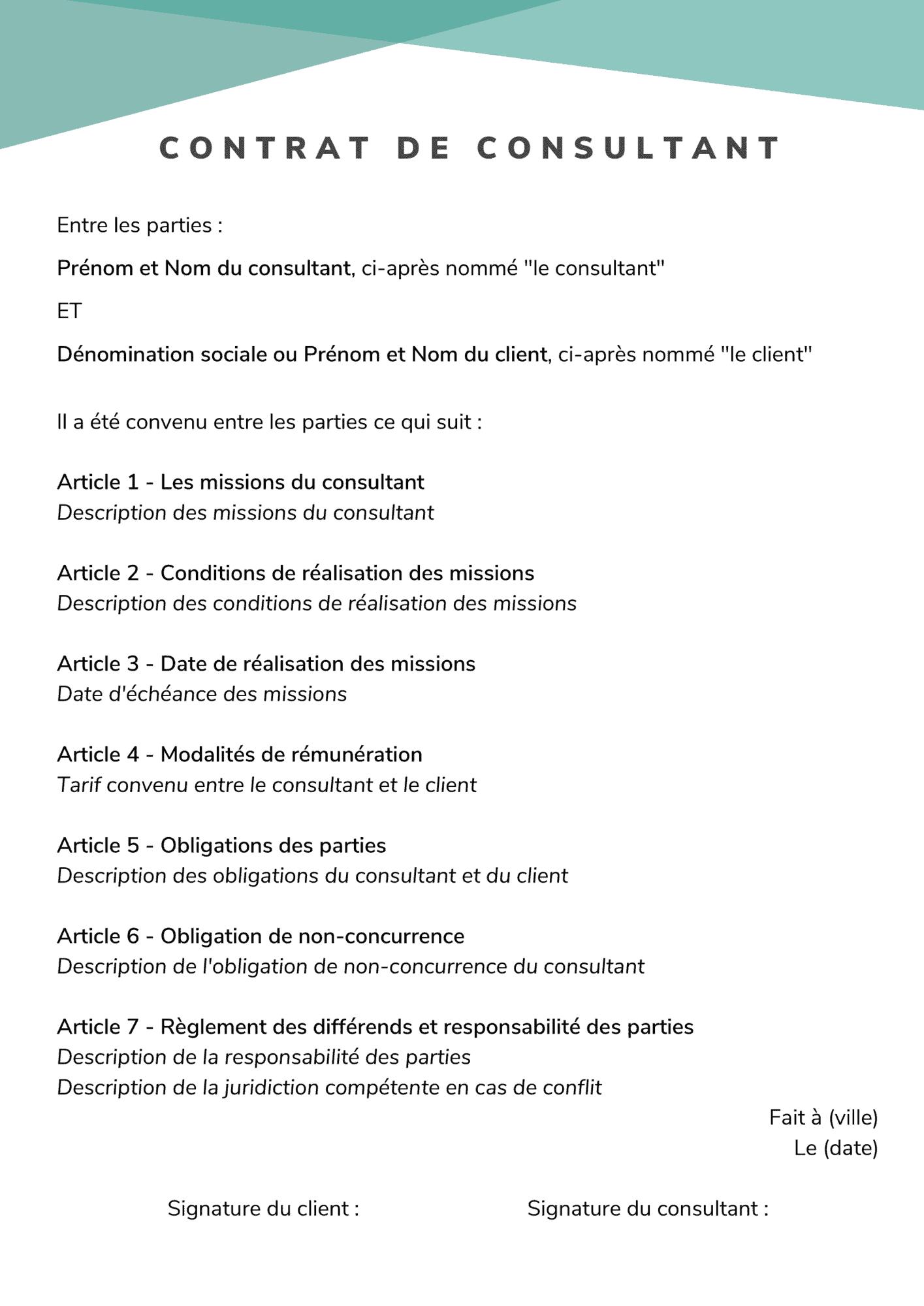 contrat de consultant