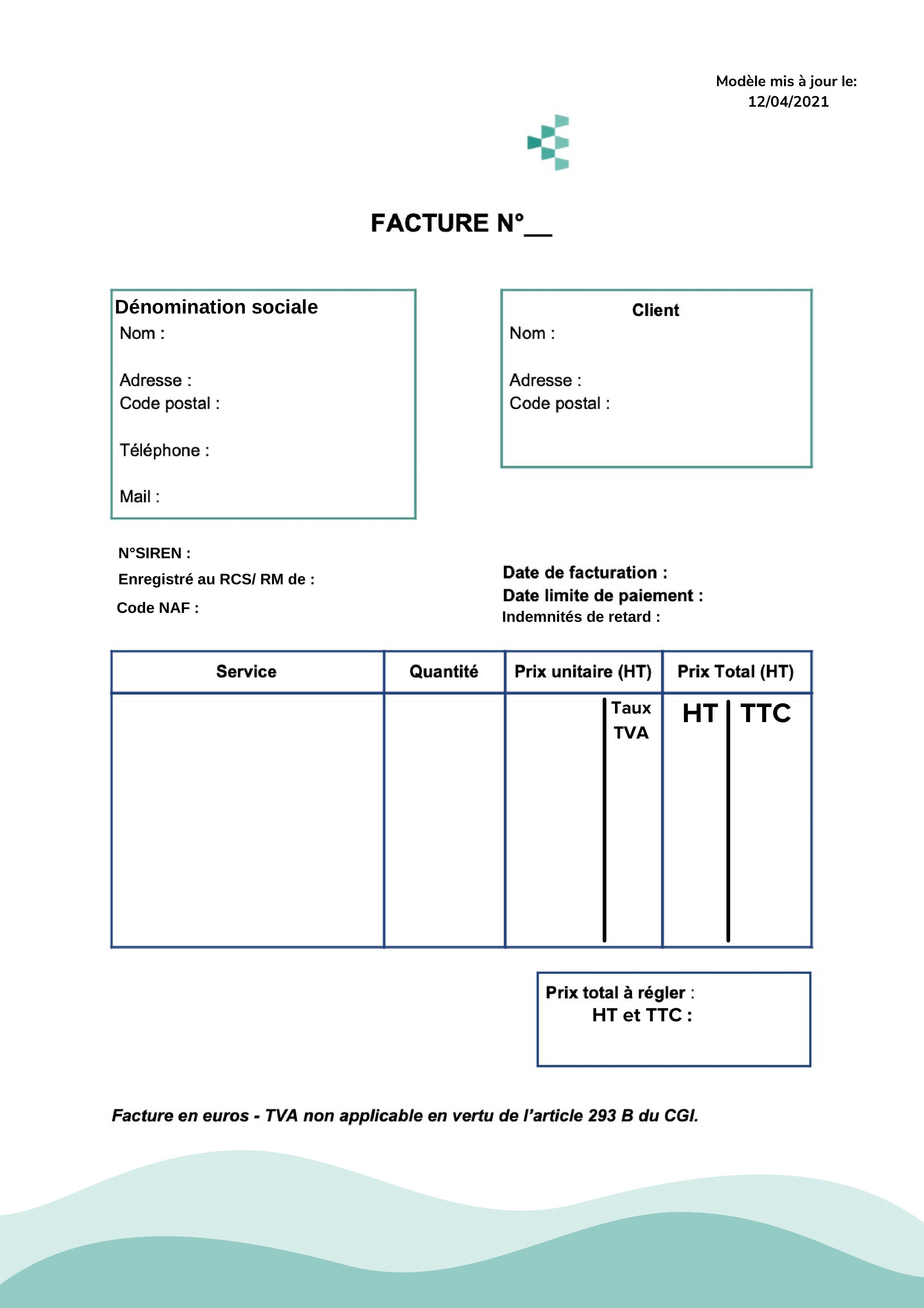 modèle facture restaurant
