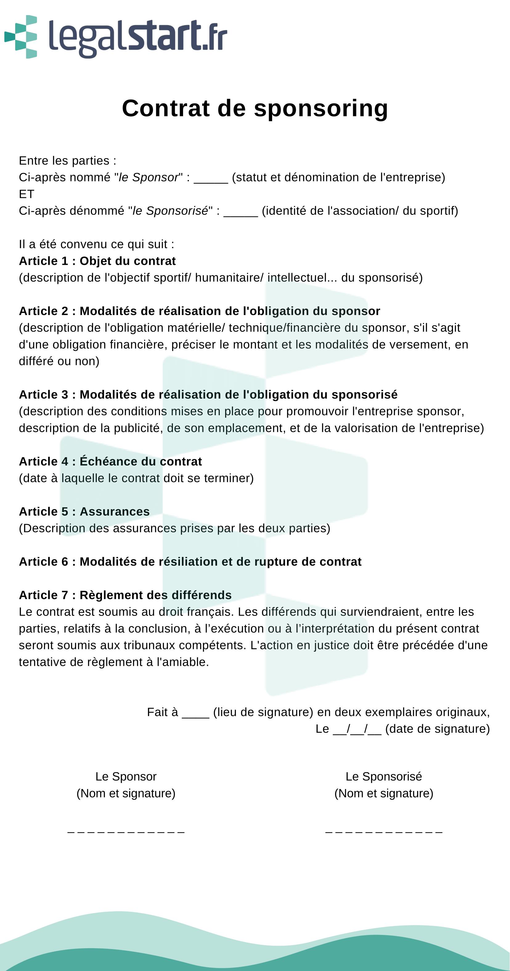 contrat de sponsoring