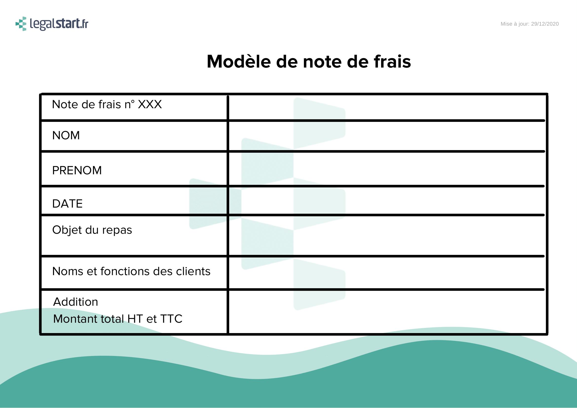 modèle de note de frais